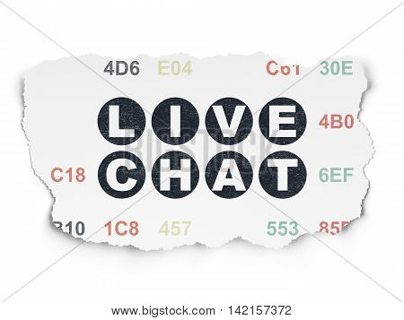 Web design concept: Painted black text Live Chat on Torn Paper background with  Hexadecimal Code