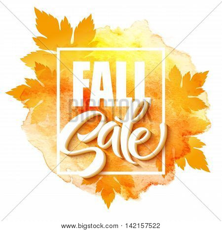 Fall sale poster with colorful watercolor leaves. Vector illustration EPS10