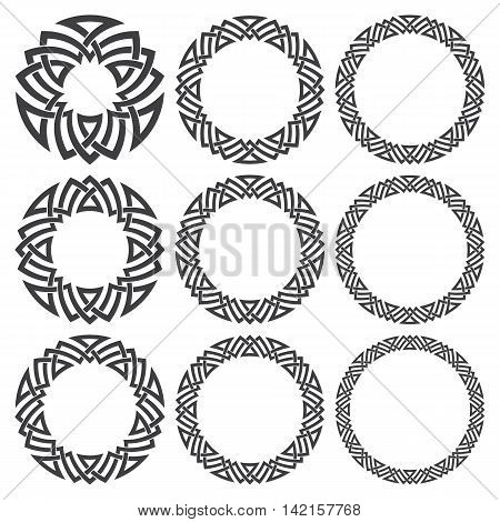 Set of round frames. Nine decorative elements for design with stripes braiding borders. Black lines on white background.