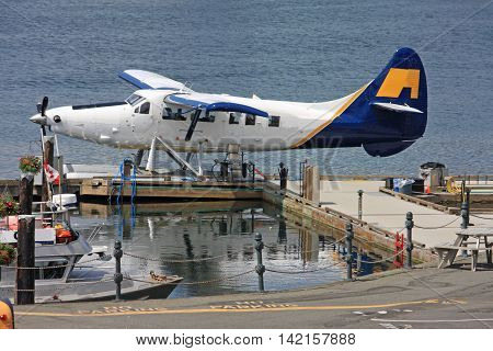 Seaplane berthed in Victoria harbor, Vancouver Island