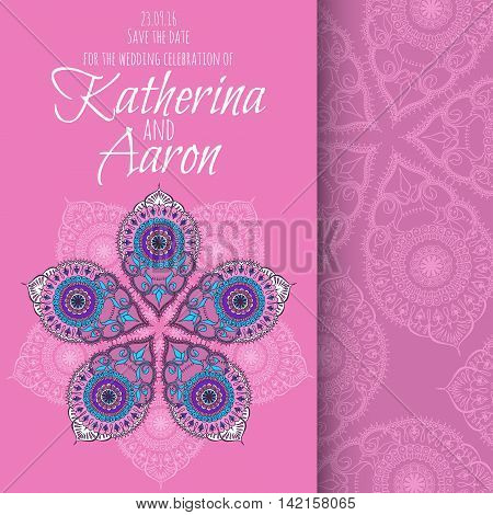 Invitation wedding card with place for text and floral ornament with mandala. Vector illustration.
