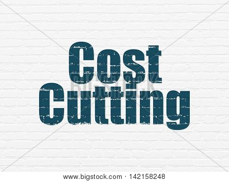 Finance concept: Painted blue text Cost Cutting on White Brick wall background
