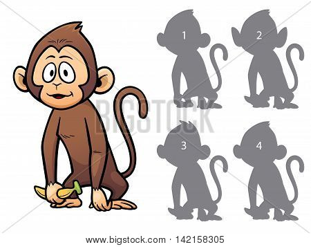 Vector Illustration of make the right choice and connect shadow matching - Monkey
