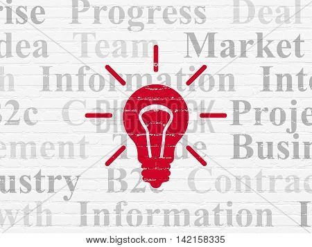 Business concept: Painted red Light Bulb icon on White Brick wall background with  Tag Cloud