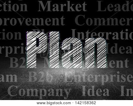 Business concept: Glowing text Plan in grunge dark room with Dirty Floor, black background with  Tag Cloud