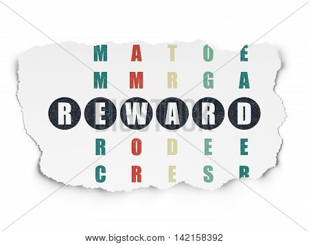Finance concept: Painted black word Reward in solving Crossword Puzzle on Torn Paper background