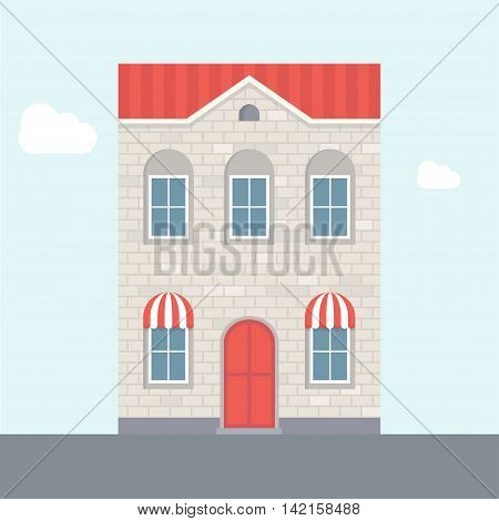 Vector illustration of house. Two-storey house. Brick house with red roof. Flat house. Apartment house. House with shop