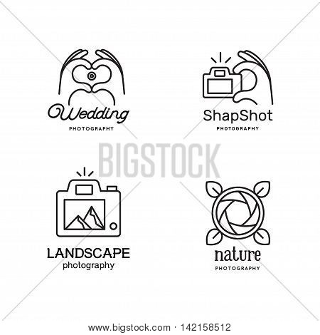 Elements for photographer emblems. Human Hands folded in the form of the heart and make photo. The landscape in the viewfinder. The hand presses the button on the camera trigger