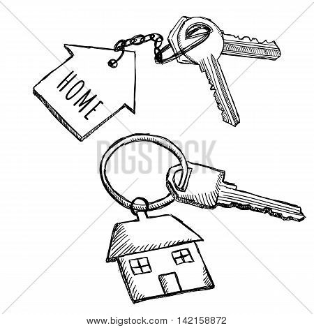 House keychain doodles. Illustration of home keys on key ring. Sketch style drawing.
