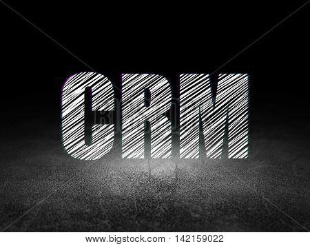 Finance concept: Glowing text CRM in grunge dark room with Dirty Floor, black background