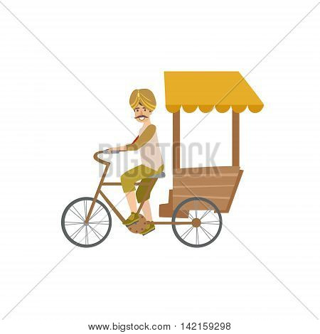 Indian Bicycle Rickshaw Country Cultural Symbol Illustration. Simplified Cartoon Style Drawing Isolated On White Background