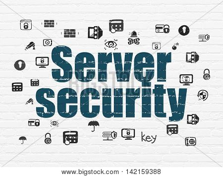 Security concept: Painted blue text Server Security on White Brick wall background with  Hand Drawn Security Icons