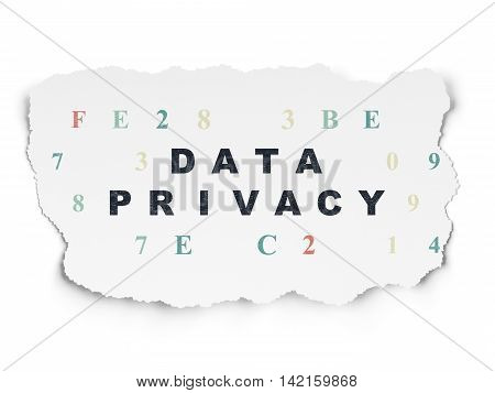 Safety concept: Painted black text Data Privacy on Torn Paper background with  Hexadecimal Code