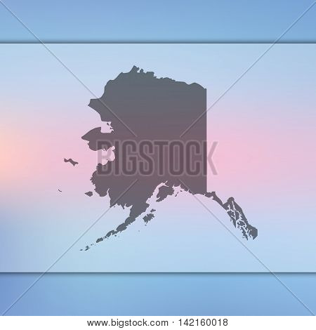 Alaska map on blurred background. Blurred background with silhouette of Alaska. Alaska. Blur background. Alaska silhouette. Alaska vector map. Alaska flag.