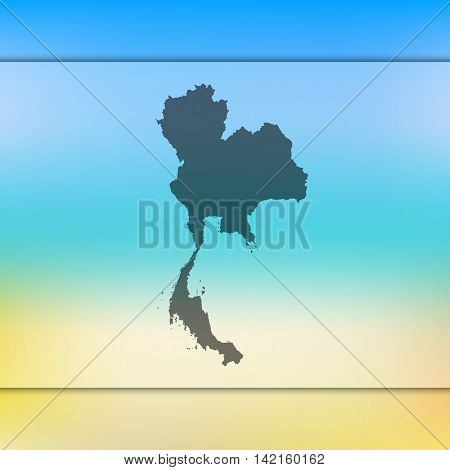 Thailand map on blurred background. Blurred background with silhouette of Thailand. Thailand. Blurred background. Thailand silhouette. Thailand vector map. Thailand flag.