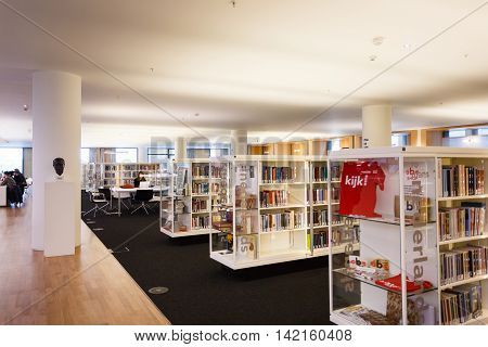 Amsterdam Netherlands - July 02 2016: Some people visit the Public Library Amsterdam the best library of Netherlands