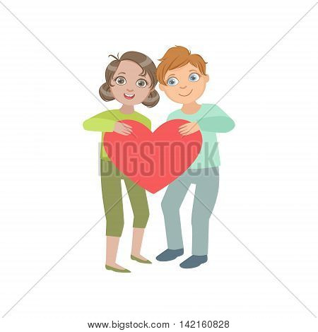 Two Kids In Love Holding Giant Heart Bright Color Cartoon Simple Style Flat Vector Sticker Isolated On White Background
