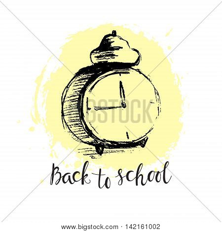 Alarm clock in chalk style at a paint stain background. Sketch of alarm and scription
