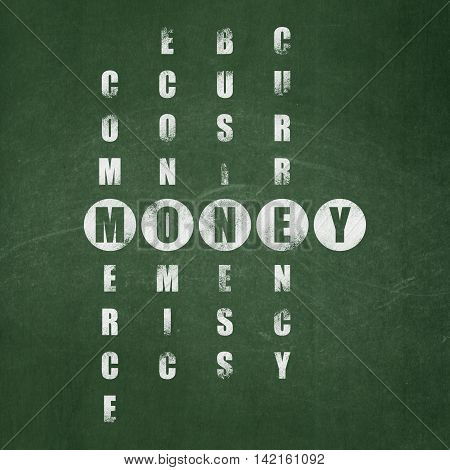 Banking concept: Painted White word Money in solving Crossword Puzzle on School board background, School Board
