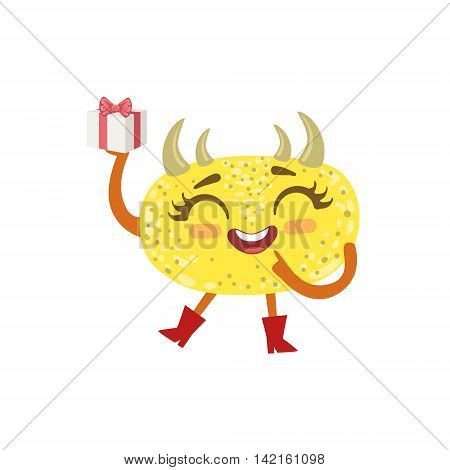 Yellow Friendly Monster With Hornes Wearing Red Boots Cute Childish Sticker. Flat Cartoon Colorful Alien Character With Party Attributes Isolated On White Background.