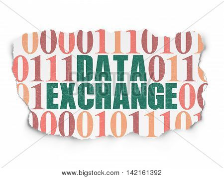 Information concept: Painted green text Data Exchange on Torn Paper background with  Binary Code