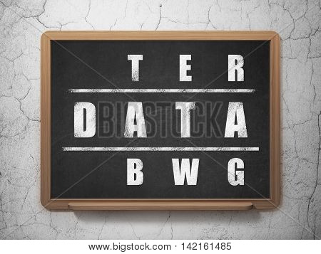 Data concept: Painted White word Data in solving Crossword Puzzle on School board background, 3D Rendering