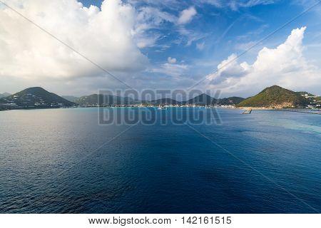 tropical Caribbean island of Saint Martin view from ocean