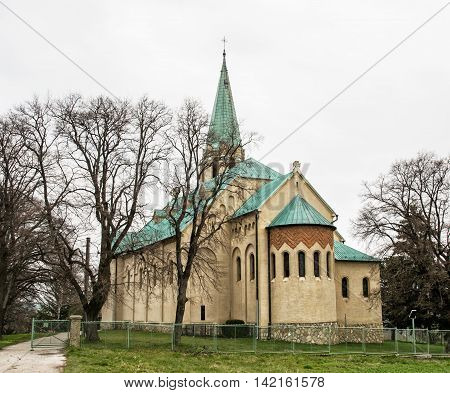 Roman catholic church of saint Stephen king Nove Sady village Slovak republic. Religious architecture. Beautiful place.