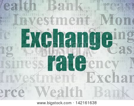 Money concept: Painted green text Exchange Rate on Digital Data Paper background with   Tag Cloud
