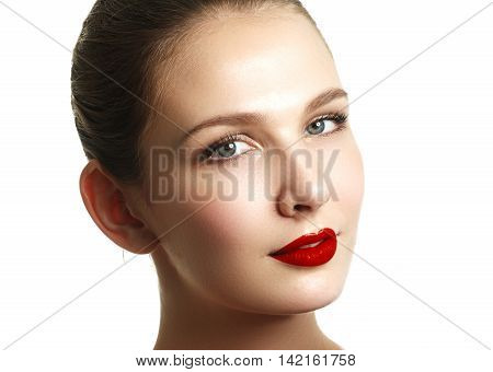 Close-up Shot Of Woman Lips With Red Lipstick. Beautiful Perfect
