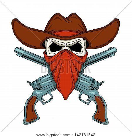 human skull cowboy revolvers two color vector illustration