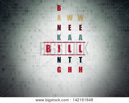 Money concept: Painted red word Bill in solving Crossword Puzzle on Digital Data Paper background