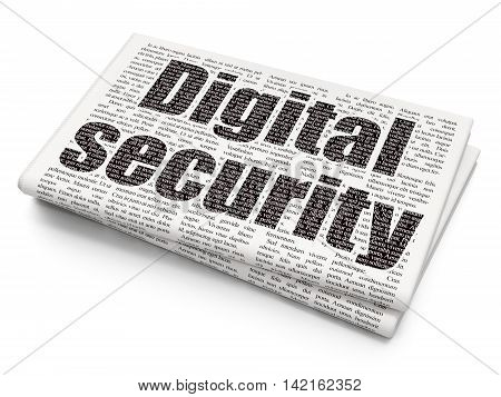 Privacy concept: Pixelated black text Digital Security on Newspaper background, 3D rendering