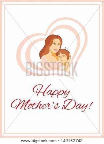Mother's Day greeting card.  Mom embraces the son