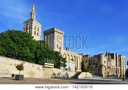 a view of the Palais des Papes, the Palace of the Popes, in Avignon, France