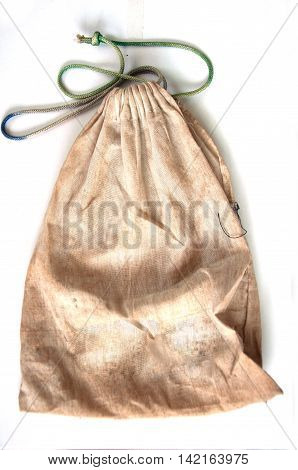 Empty of burlap pouch on white background