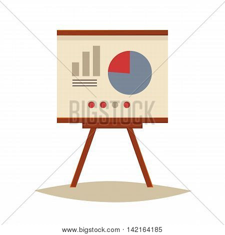 Presentation board with pie chart and infographic elements, sketch style vector illustration isolated on white background. Flip chart with pie graph, brainstorm, business presentation