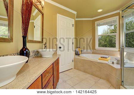 Luxurious Bathroom Interior In Warm Beige Color