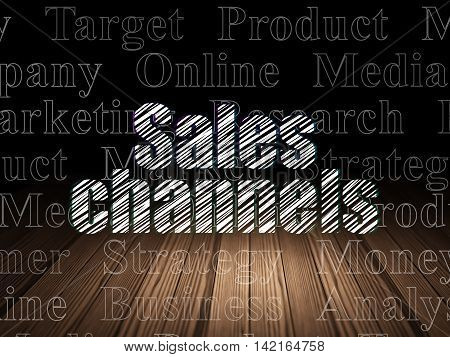 Advertising concept: Glowing text Sales Channels in grunge dark room with Wooden Floor, black background with  Tag Cloud