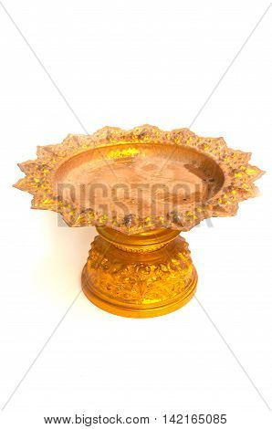 golden tray with pedestal in isolated white background
