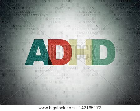 Health concept: Painted multicolor text ADHD on Digital Data Paper background