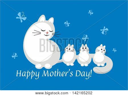 white cat and little kittens on a blue background. Mother's Day greeting card