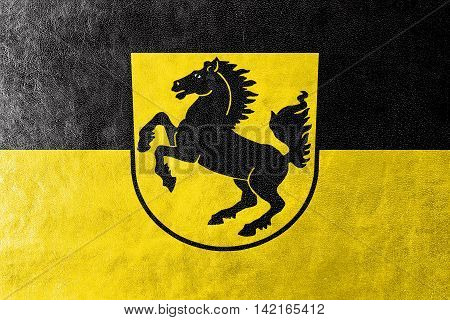 Flag Of Stuttgart With Coat Of Arms, Germany, Painted On Leather Texture