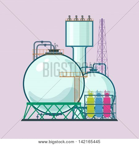 Industrial Plant Isolated, Refinery Processing of Natural Resources, Industrial Pipes and Tanks, Chemical Industry ,Vector Illustration