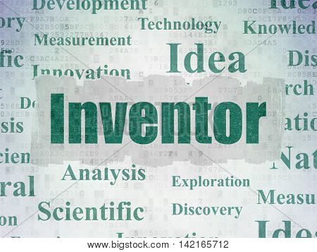 Science concept: Painted green text Inventor on Digital Data Paper background with   Tag Cloud