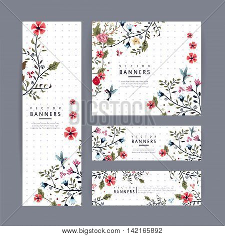 Graceful Banner Template Design With Lovely Floral Pattern