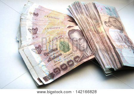 Thailand money (THB), pile 1000 Thai baht