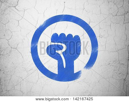 Political concept: Blue Uprising on textured concrete wall background
