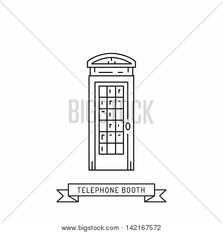 The linear vector london telephone booth isolated on white background