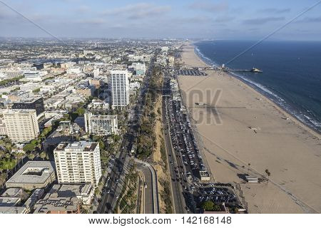 Santa Monica, California, USA - August 6, 2016:  Aerial view of Pacific Coast Highway and Santa Monica beach near Los Angeles.